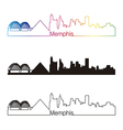 Memphis skyline linear style with rainbow vector image vector image
