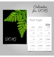Black calendar with green leaves decoration vector image