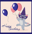 happy birthday postcard template with cute vector image