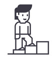 personal growthman stairs up line icon vector image