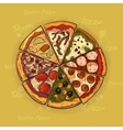 Pizza on a wooden background hand drawn vector image