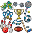 Sports equipment icon set vector image