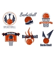 Basketball game sport icons and symbols vector image vector image