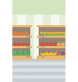 Background of vegetables and fruits on shelves vector image