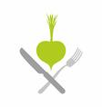 Logo for vegetarian restaurants or cafes Green vector image