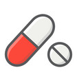 pills filled outline icon medicine and healthcare vector image