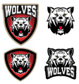 Wolves sport team logo template Mascot vector image