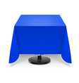 square dining table with blue tablecloth and vector image