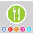 Fork knife flat icon shadow vector image