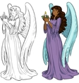 Beautiful African American female angel with vector image vector image