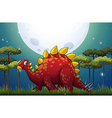 Dinosaur in the field on fullmoon night vector image vector image