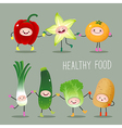 Collection of cartoon fruits and vegetables vector image