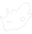 Black White South Africa Outline Map vector image vector image