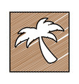 color pencil drawing square frame with palm tree vector image
