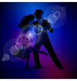 design with couple dancing tango on dark backgroun vector image