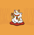 maneki neko talisman cat beckoning wealth vector image