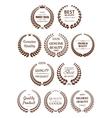 Quality guaranteed laurel wreaths symbols vector image