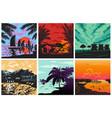 sunset silhouette set sunrise hawaii palms vector image