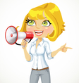 Cute girl talking into a megaphone vector image vector image