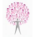 Breast cancer awareness ribbon woman tree shape vector image vector image