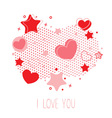 Cute Valentine card with hearts stars and halftone vector image vector image