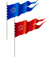 Red and blue flags vector image vector image