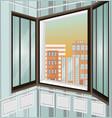 city view through window vector image