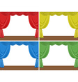 Four scenes of stage with different color curtains vector image