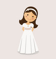 girl with communion dress on ocher background vector image