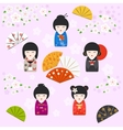 Japanese kokeshi dolls background vector image