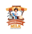 Local market farmer selling vegetables vector image