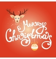 Merry Christmas lettering with reindeer vector image