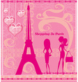 Shopping In Paris Beautiful pink abstract card vector image