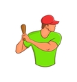 Baseball player with bat icon cartoon style vector