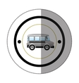 sticker with circular shape with colorful mini bus vector image