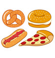 different kinds of fastfood made with bread vector image vector image