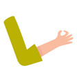 female woman arm hand showing okay ok sign vector image