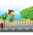 A girl walking in the street with a sprinkler vector image