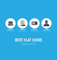 flat icon computer set of processor computer vector image
