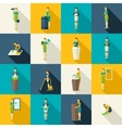 Cleaners Color Flat Icons Set vector image