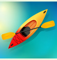 kayak and paddle on water of vector image