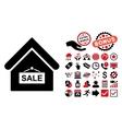 Sale Building Flat Icon with Bonus vector image