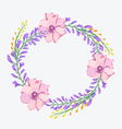 Watercolor flowers frame template vector image