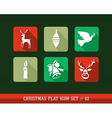 Merry Christmas colorful web app flat icons set vector image
