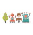 funny unusual robots on wheels isolated cartoon vector image
