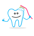 Smiling tooth with toothbrush vector image vector image