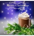 Christmas New Year design with hot chocolate vector image