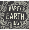 Happy Earth Day Logotype on Tree Rings Background vector image