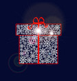 gift box made of snowflakes with red ribbon and vector image