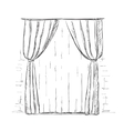 Hand drawn curtains sketch vector image